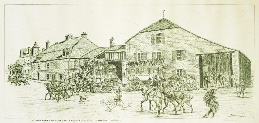 Gravure du 17ème siècle du relais de la poste aux chevaux de launois sur vence